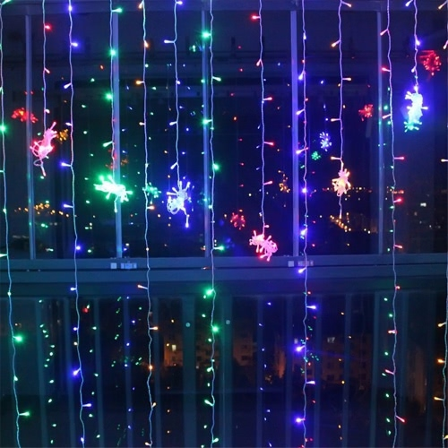 110V/220V 3*2M 224Pcs Colorful Curtain LED Icicle String Lights Battery Operated Christmas Fairy Lights Outdoor Home for Wedding Party Garden Decoration Background Lighting