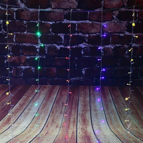 3*3M 448 Battery Operated Curtain LED String Lamp Christmas Fairy Icicle Lights Outdoor Home for Wedding Party Garden Decoration Background Lighting 110V/220V