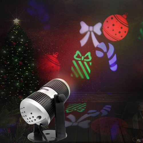 4W 4LED 360° Adjustable Dynamic RGBW Moving Snowflake Film Projector Light Pattern Decoration Lamp Spotlight for Christmas Xmas Party Wedding with 4 Pcs Slides