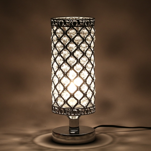 Tomshine Crystal Silver Beside Table Lamp