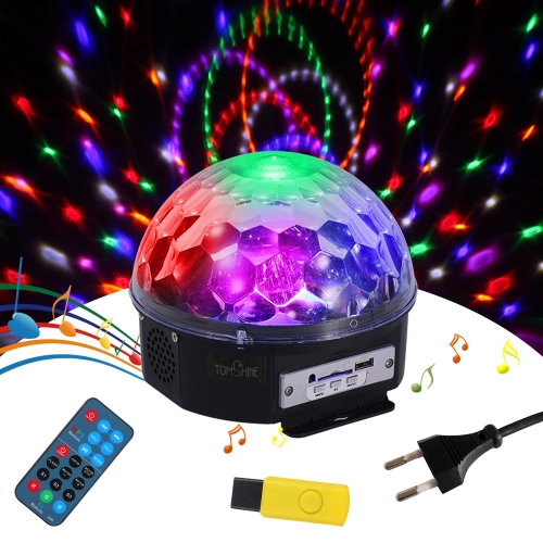 Tomshine 18W Rotating Magic Ball LED Light z pilotem Dual Speakers