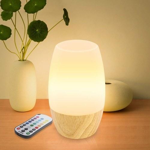Lámpara de dormir noche de control remoto Luz de noche de madera