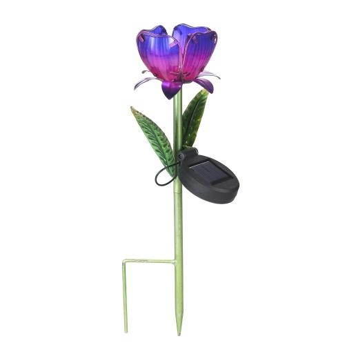Lámpara de césped LED con luz solar de flores