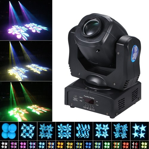 120W LEDs Moving-heads Stage Light 9/15CH 8 Patterns and 16 Colors DMX512 Sound-activated Gobos Spotlight