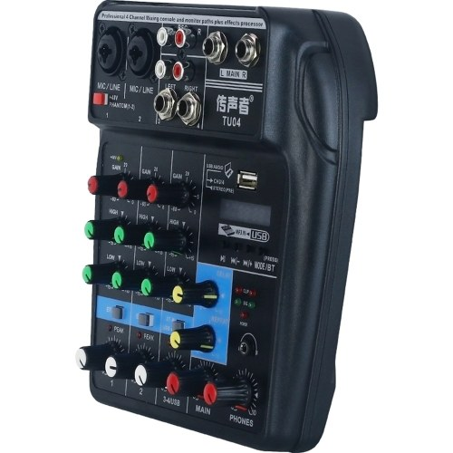 Портативная 4-канальная консоль BT Sound Mixing Digital Audio Mixer Встроенные эффекты реверберации для записи DJ Network Live Broadcast