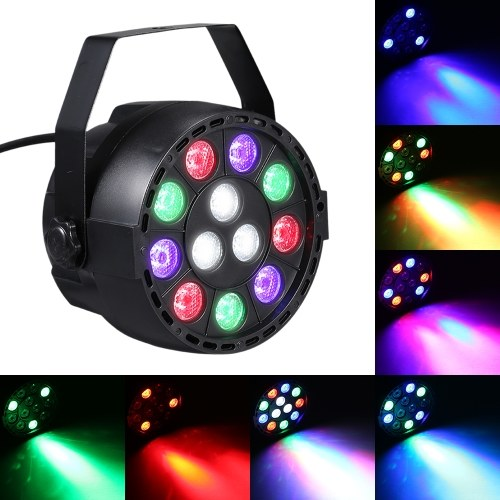 AC 90-240V 12 LEDs Par Lights 8 Channel RGBW Color Mixing Stage Lighting with DMX Strobe and Sound Active Mode фото