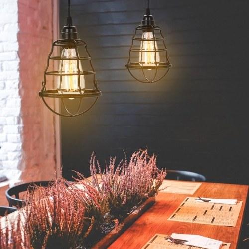 Промышленный штекер вкл. / Выкл. Подвесной светильник Винтажные подвесные потолочные светильники в клетке Мини-регулируемая подвесная лампа для домашнего освещения кухни (без лампы)