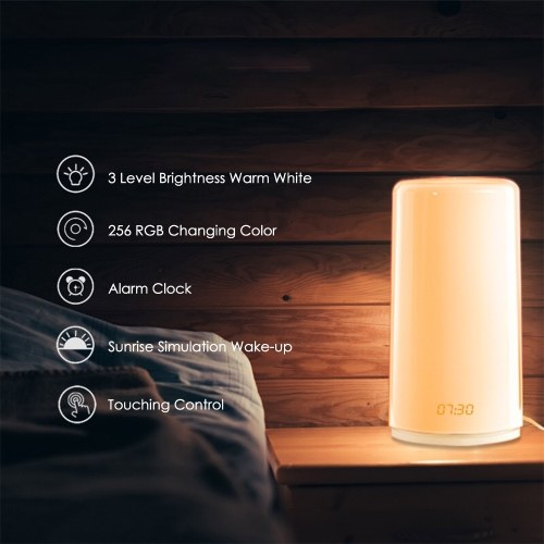 Sunrise Simulation Wake-up Light with Alarm Clock 5 Natural Sounds Time Display Touching Control Bedside Table Lamp
