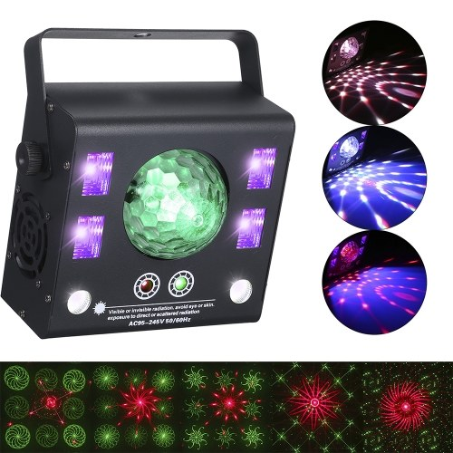 50-W-LEDs Bühnenlaserlicht 4-in-1-Kaleidoskop DMX512 Master-Slave Auto-Run Sound Activated Projector