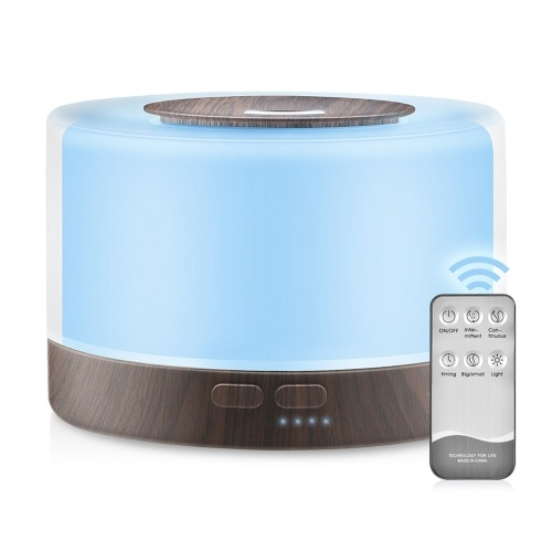 500ml U-ltrasonic Acoustic Air Humidifier Aroma Diffuser Mist Maker with Controller 7 Colorful Lights Changing/ Static Color Design 2 Levels T-imer T-ime Setting Double S-pray Modes for Yoga Office Home Bedroom Living Room Spa Daily Use