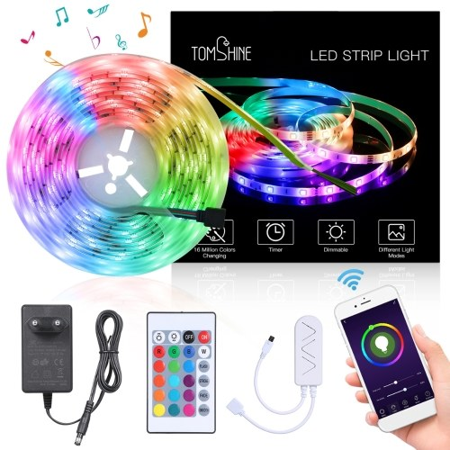 Tomshine WiFi Intelligent LED Strip Lights 5m/16.4ft Color Changing RGB LED Rope Light IP65 Water-resistant Compatible with Alexa/Google Home/Ehco App & Remote Control Tape Light for Bedroom Home Cupboard