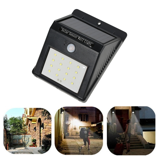Rechargeable 1W 120LM 16 LEDs Solar Power Wireless Lamp PIR Human Motion Sensor & Light Sensor Wall Mount for Garden Wall Roof Yard Stairways Outdoor Use
