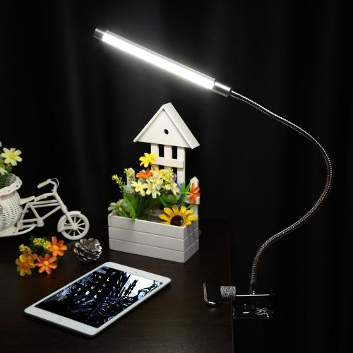 USB pinza LED escritorio Mesa Lámpara ajustable con clip Flexible Gooesneck luz 6W 18LED protección ocular con interruptor para la lectura de estudio cama portátil