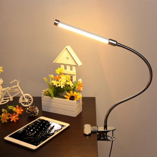 USB Clamp LED Desk Table Lamp Adjustable Clip-on Flexible Gooesneck Light 6W 18LED  Eye Protection with Switch for Reading Study Bed Laptop