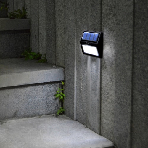 Lixada Rechargeable Solar Power 6 LEDs 0.36W 12LM Lamp Light Sensor Wall Mount for Garden Door Entrance Yard Pathways Outdoor Use Warm White