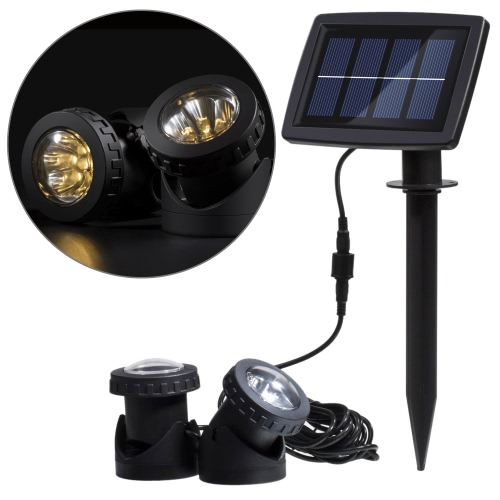 Lixada Solar Powered Super Bright 2 Underwater Lamps 12 LEDs Light Sensor Projector Light Garden Pool Pond Yard Submersible Spotlight Outdoor Landscape Lighting Use Warm White
