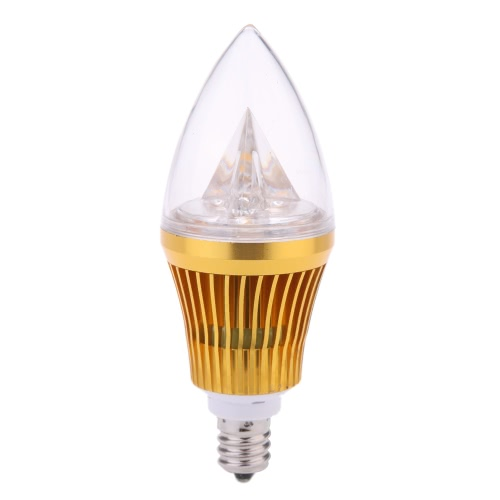AC110V 6W E12 LED Candle Bulb Light Golden Dimmable Chandelier Lamp Practical Decorative Energy-saving Home Lighting Fixture Warm White