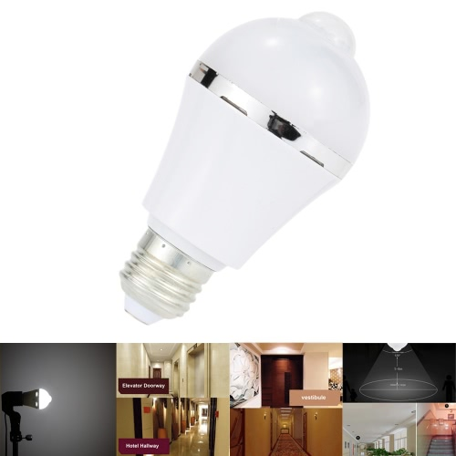 LED PIR Human Motion Light Sensor Bulb 10 LEDs 5W 450LM E26/E27 Isolated Constant Current Driver Bedroom Pathway Desk Cabinet Bathroom Lamp Indoor Use White