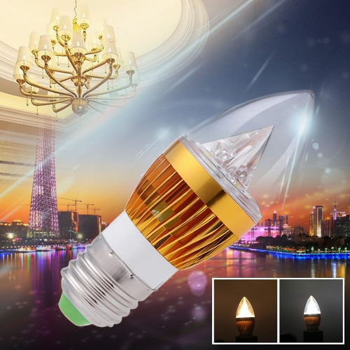AC110V 6W E26/E27 LED Candle Bulb Light Golden Dimmable Chandelier Lamp Practical Decorative Energy-saving Home Lighting Fixture White