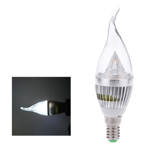 AC110V 6W E14 LED Candle Bulb Light Silver Rawai Bubble Dimmable Chandelier Lamp Practical Decorative Energy-saving Home Lighting Fixture White