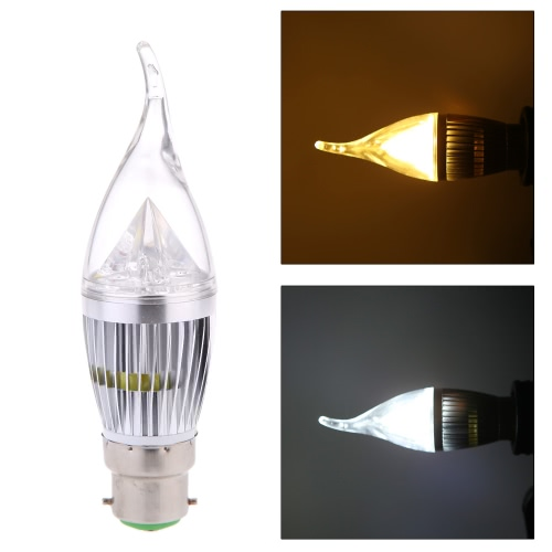 AC110V 8W B22 LED Candle Bulb Light Silver Rawai Bubble Dimmable Chandelier Lamp Practical Decorative Energy-saving Home Lighting Fixture White