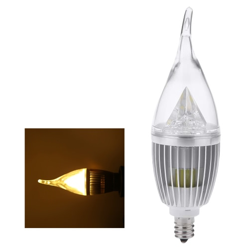 AC110V 10W E12 LED Candle Bulb Light Silver Rawai Bubble Dimmable Chandelier Lamp Practical Decorative Energy-saving Home Lighting Fixture White