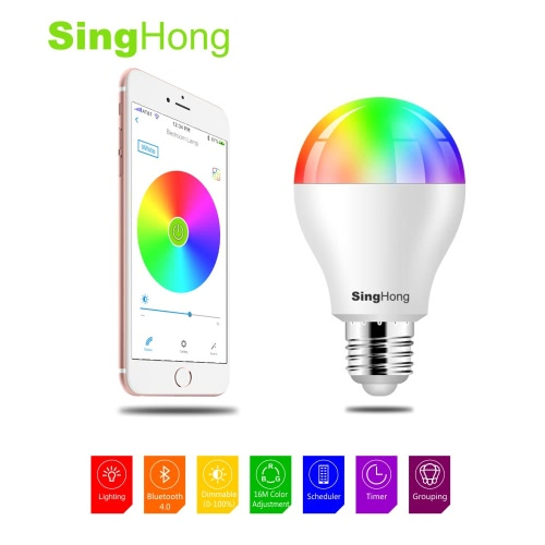 SingHong 7.5W 600LM E26/E27 Smart RGBW LED BT Bulb