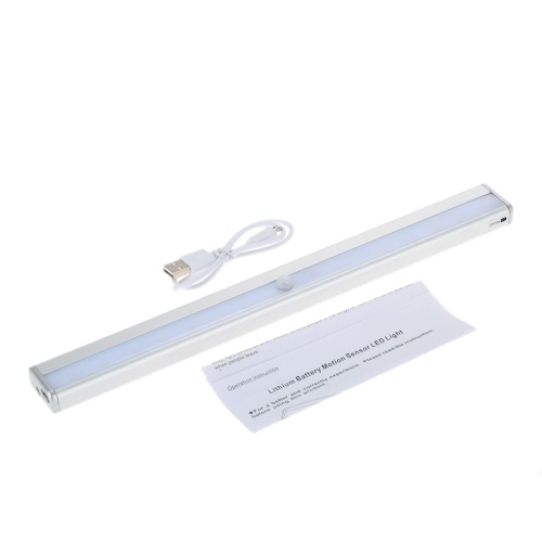 16 LEDs 1.5W Night Light Under Cabinet Closet Lamp PIR Motion Activated Sensor Light Control Portable Rechargeable Battery Operated Magnetic Base Stick-on Anywhere for Stair Step Drawer Bar Storage