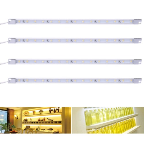4 Packed 1.2W 15LEDs Under Cabinet Light Stick-on Anywhere Lamp Ultra Thin Slim Bar Closet Cabinet Kitchen Strip Light