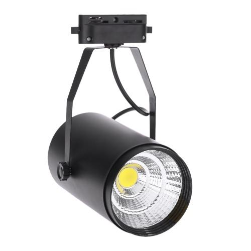Lámpara del proyector de 20W AC85-265V 1800LM COB Ferrovía luz LED ajustable para la Oficina de Centro Comercial tienda de ropa Exposición Uso Negro