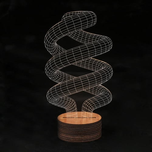 Ilusión óptica 3D LED mesa noche luz USB Cable escritorio lámpara espiral forma