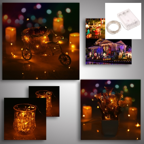 50 LEDs 5m/16.4ft Outdoor Copper String Wire Lights Colorful Fairy Lamp Battery Operated Water-resistant for Festive Celebrations Christmas Halloween Party Wedding Decoration