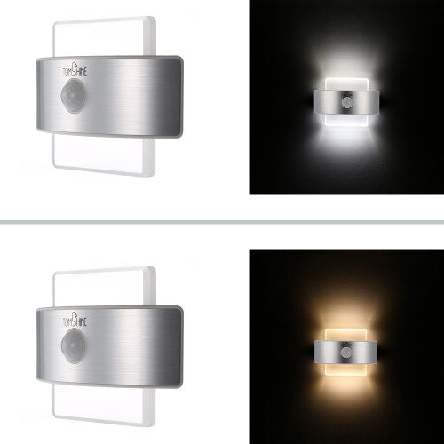 Tomshine Rechargeable 2 Power Supply 2 Lighting Modes PIR Body Motion Induction Sensor Lamp Wall Night Light for Corridor Stair Basement Attic Closet Garage