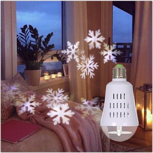 E27 4W Dynamic Snowflake Film Projector Bulb Light