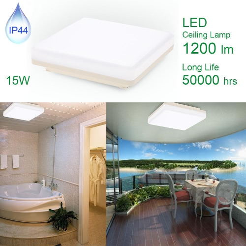 LED 15W IP44 Ceiling Light Square 8 Inch 3000K/4000K 1200LM 50W Equivalent Warm White/ Natural White for Bedroom Living Room Kitchen Bathroom Corridor etc [Energy   Class A+]