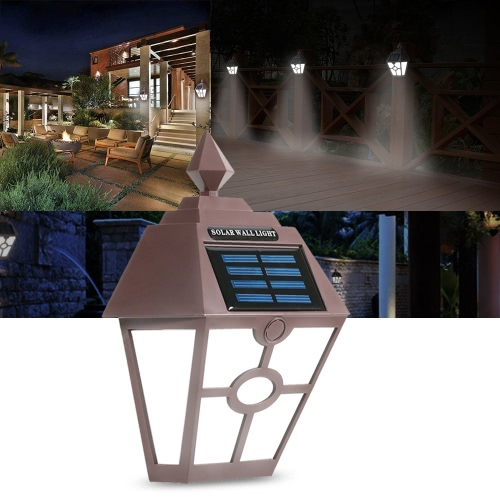 Retro IP65 Water Resistant Outdoor Solar Powered Night Light Induction Sensor LED Wall Lamp for Garden Courtyard Fence Corridor Aisle Patio
