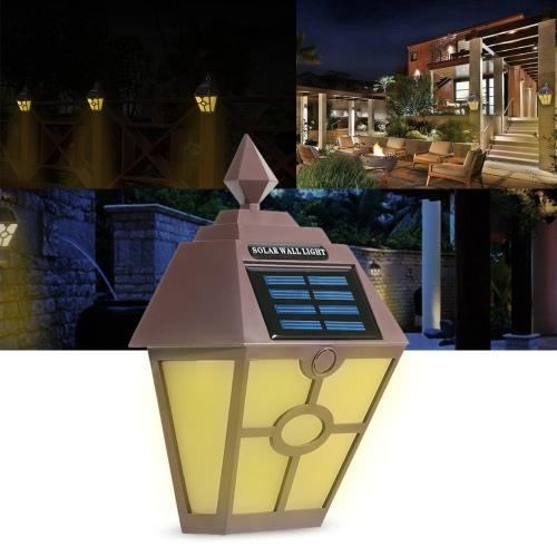 Ретро IP65 водонепроницаемый Открытый солнечных батареях Night Light индукционного датчика Светодиодный настенный светильник для сада во дворе Забор коридор AISLE патио