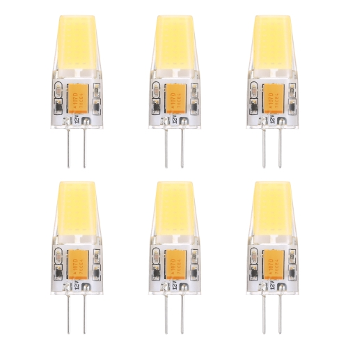 Tomshine 6 Pack 2.5W G4 Bulb COB SMD 25W Halogen Bulb Equivalent AC/DC10-20V 280LM LED Corn Light 280 Degree Beam Angle Energy Saving Class A++ Lamp Non Dimmable for Indoor Crystal Chandelier White
