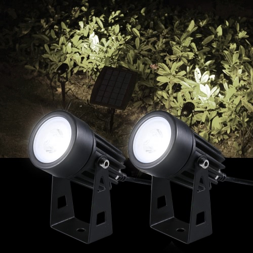 Tomshine 130LM 2W Dual Solar Powered Spotlights Weiß