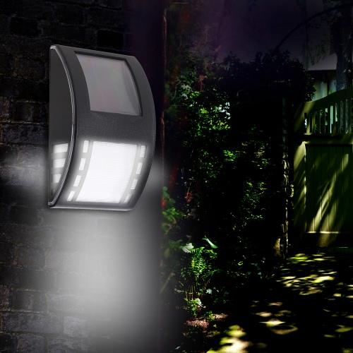 0,5 W 3 LED-Sonnenenergie-Wand-Lampe Wasserdicht Außennachtlicht Auto On / Off für Patio Deck Yard Auffahrt Gartenzaun Balkon Weiß