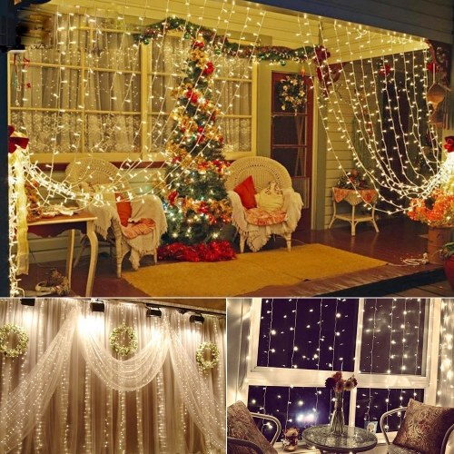 300 LEDs Fairy Curtain Light 3m * 3m 12 Strings Window String Lights with Remote Control