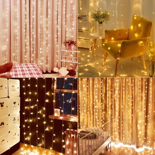300 LEDs Fairy Curtain Light 3m * 3m 12 Strings Fenster Lichterketten mit Fernbedienung