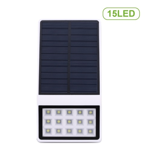 15 LEDs Solar Powered Wall Lamp Motion Sensor Light IP65 Water-resistant Human Body Induction Lamp Security Outdoor Lighting for Patio Pathway Garden Courtyard