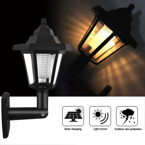 1Pcs Solar Panel LED Sensor Wall Light Hexagon Lamp Path Way Garden Fence Lamp