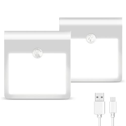 2pack 12LEDs USB recarregável sensor de movimento luz noturna luz embutida no armário