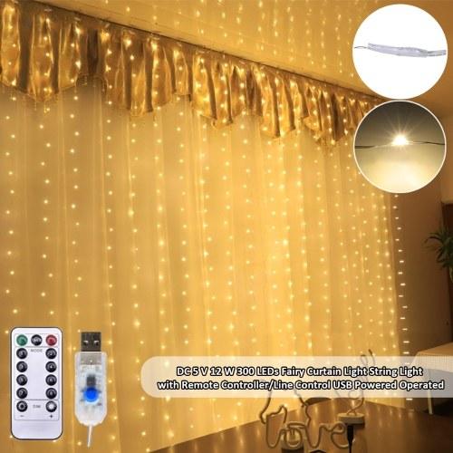DC5V 12W 300 LED fée rideau lumière s-tring lumière avec télécommande / contrôle de ligne
