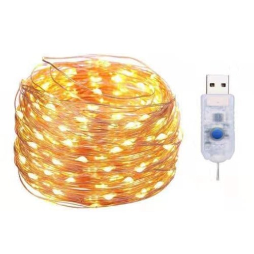 2 Stück Kupferdraht Lichterkette USB 10M 100 Lamp Perlen 8 Modi Home Decor Holiday Fairy Lichterkette (Warmweiß)