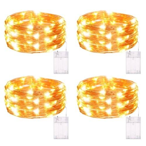 Tomshine 6m / 19.69ft 60leds Cadena de alambre de cobre Luz con pilas Luces de hadas Iluminación de paisaje