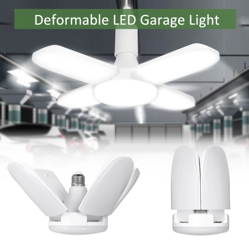 Tomshine LED Garage Light AC 85-265V 60W Deformable Folding Ceiling Lights with 4 Adjustable Panels 6000-6500k Nature White Light for Garage Warehouse Workshop Basement Gym Kitchen