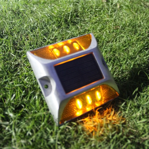 2W 6 LED Solar Powered Driveway Lamp Light Control Good Bearing Capacity IP68 Waterproof Road Warning Lamp for Street Avenue Highway Parking Lot Trafficway Path Red